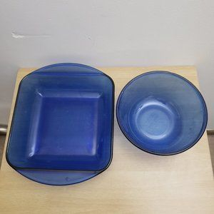 Anchor Hocking Cobalt Blue Mixing Bowl Casserole